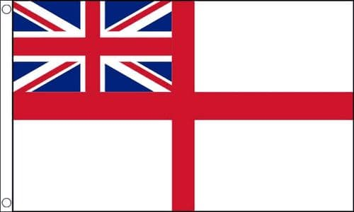 Naval Flags Ensign White Squadron 5ft x 3ft Metal Eyelets 100% Polyester Flags
